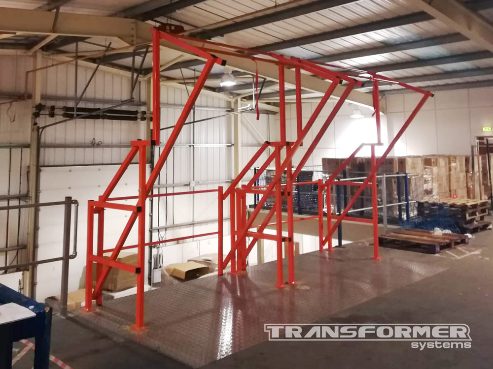 Two High Pallet Gates Installed on a Large Mezzanine.