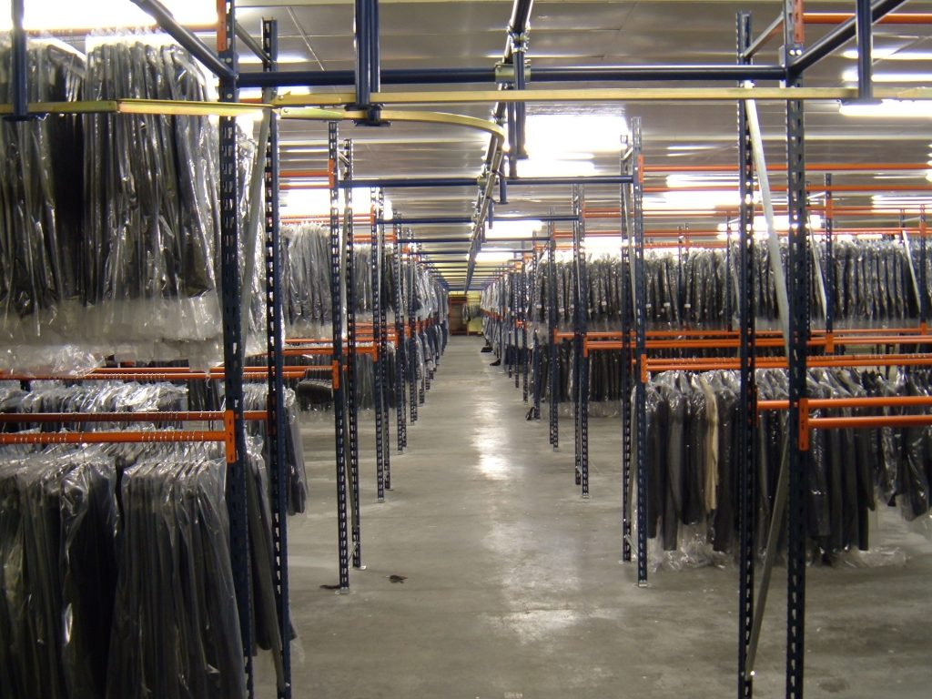 Hanging Garment Racking and Slickrail for transportation along the walkway.